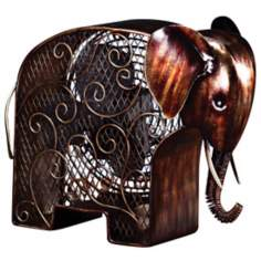 Elephant Mottled Brass Figurine Fan