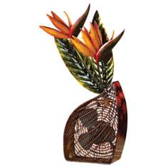 Bird of Paradise Mottled Brass Figurine Fan