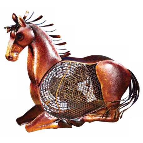 Horse Figurine Mottled Brass Desk Fan