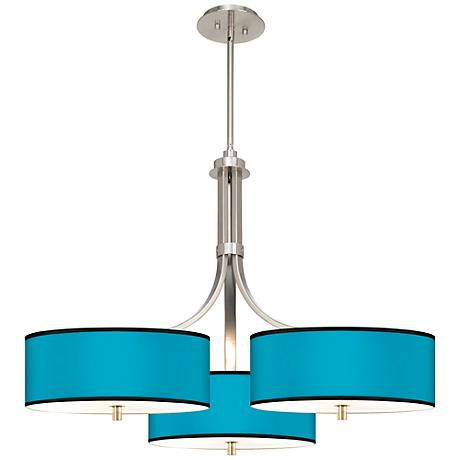 "Aqua Giclee 36"" Wide Triple Large Contemporary Chandelier"