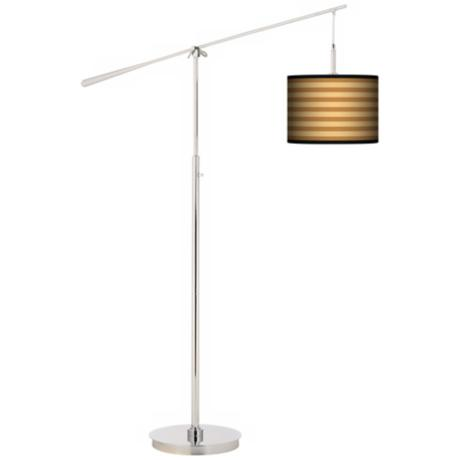 Butterscotch Parallels Giclee Boom Arm Floor Lamp