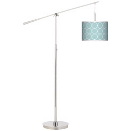 Aqua Interlace Giclee Boom Arm Floor Lamp