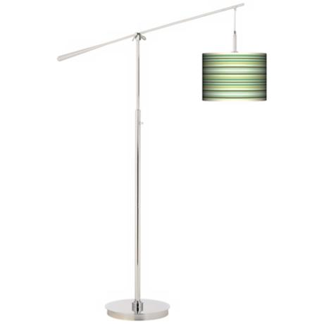 Lexington Stripe Giclee Boom Arm Floor Lamp