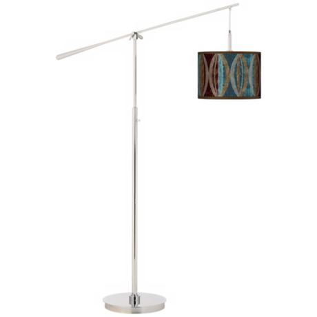 Stacy Garcia Pearl Leaf Peacock Giclee Boom Arm Floor Lamp
