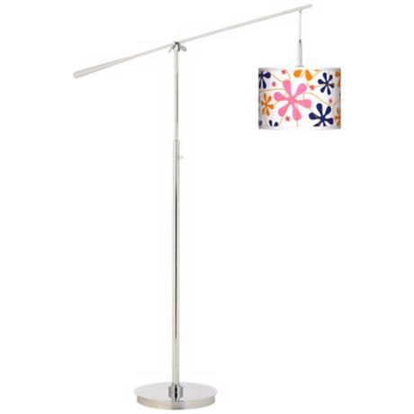 Retro Pink Giclee Boom Arm Floor Lamp
