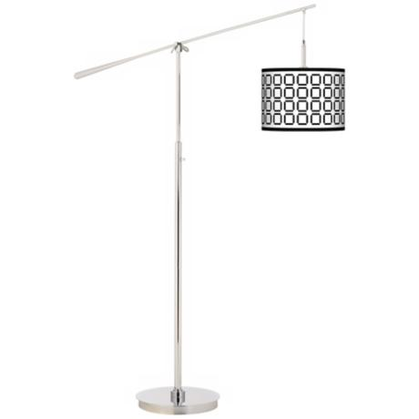 Open Grid Giclee Boom Arm Floor Lamp
