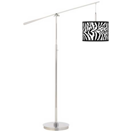 Safari Zebra Giclee Boom Arm Floor Lamp