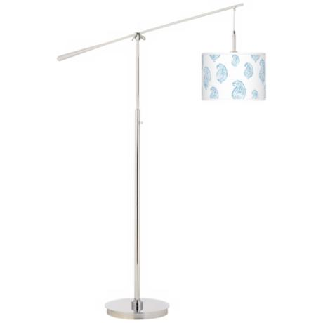 Paisley Snow Giclee Boom Arm Floor Lamp