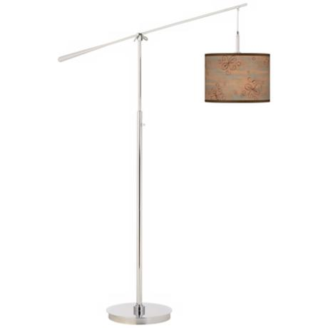 Les Sirenes Natural Giclee Boom Arm Floor Lamp