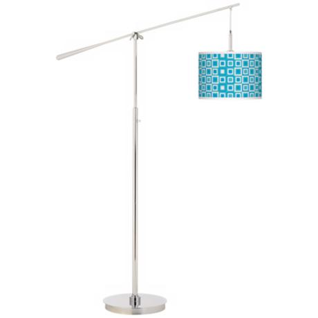 Blue Boxes Linen Giclee Boom Arm Floor Lamp
