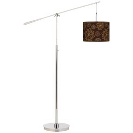 Chocolate Blossom Linen Giclee Boom Arm Floor Lamp