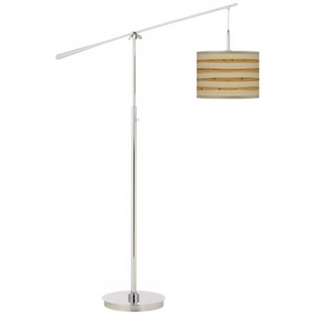 Bamboo Wrap Giclee Boom Arm Floor Lamp
