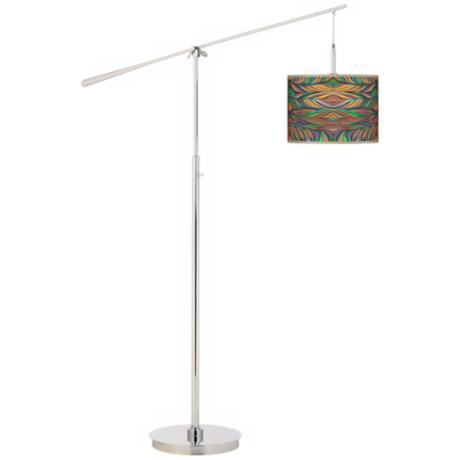 Exotic Peacock Giclee Boom Arm Floor Lamp