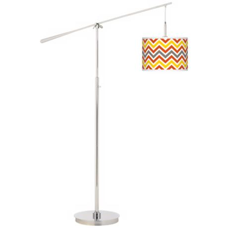 Flame Zig Zag Giclee Boom Arm Floor Lamp