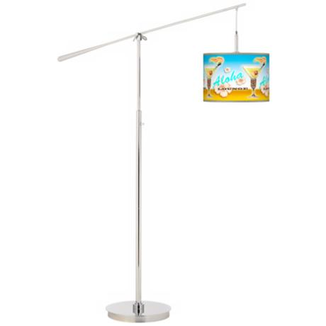Aloha Lounge Giclee Boom Arm Floor Lamp