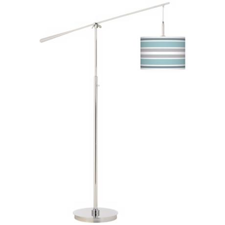Multi Color Stripes Giclee Boom Arm Floor Lamp