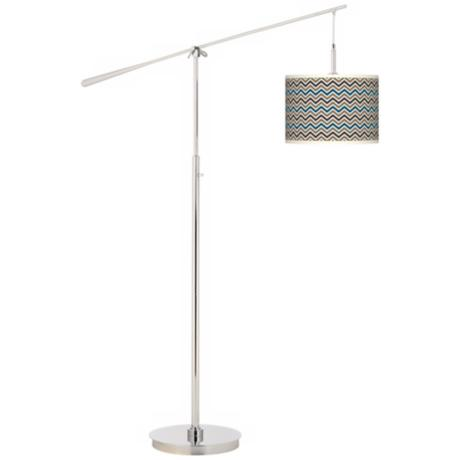 Zig Zag Giclee Boom Arm Floor Lamp