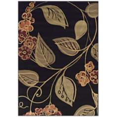 Tremont Collection Swerve Floral Black Area Rug