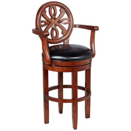 American Heritage Kennedy Black Leather Bar Stool