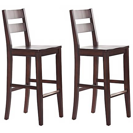 "Set of 2 American Heritage Tyler 30"" Wood Bar Stools"
