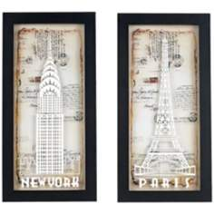 "Set of 2 Paris and New York 20"" High Glass Wall Art"