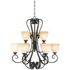 "Franklin Iron Works Amber Scroll 32"" Wide 9-Light Chandelier"