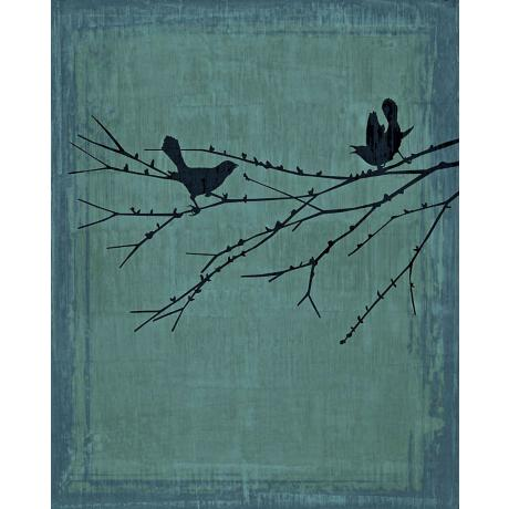 "Birds At Rest Patina Giclee 40"" High Canvas Wall Art"