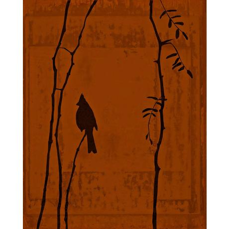 "Birds At Rest Vermillion Giclee 40"" High Canvas Wall Art"