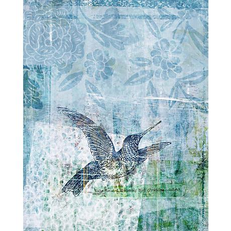 "Blue Hummingbirds I Giclee 30"" High Canvas Wall Art"