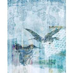 "Blue Hummingbirds II Giclee 30"" High Canvas Wall Art"