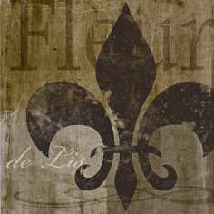 "Fleur de Lis I Giclee 16"" Square Canvas Wall Art"