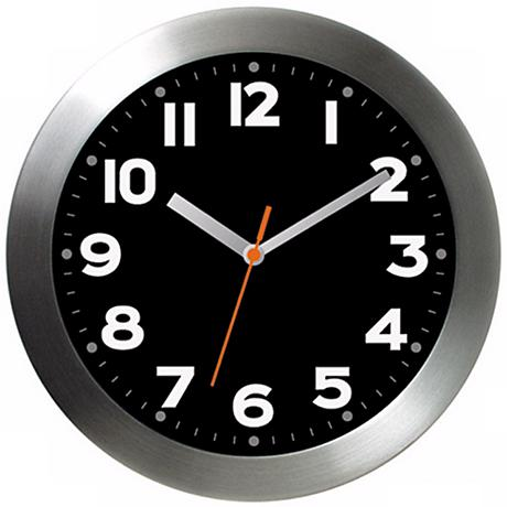 "Aluminum Black 11"" Wide Wall Clock"