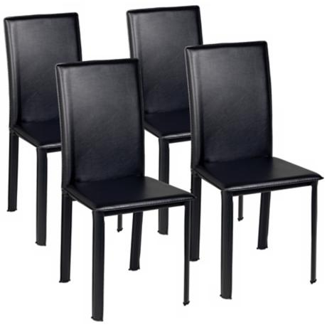 Set of  Four Zuo Arcane Black Leather Dining Chair
