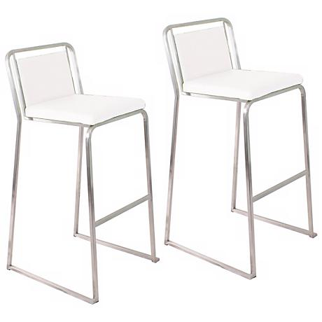"Cascade 29 1/2"" White Bar Stool Set of 2"