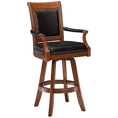 "Hillsdale Kingston Game Swivel Faux Leather 30"" Bar Stool"