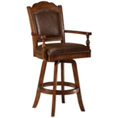 "Hillsdale Nassau Swivel Leather Game 30"" High Bar Stool"