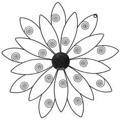 Black Flower Metal Wall Art Piece