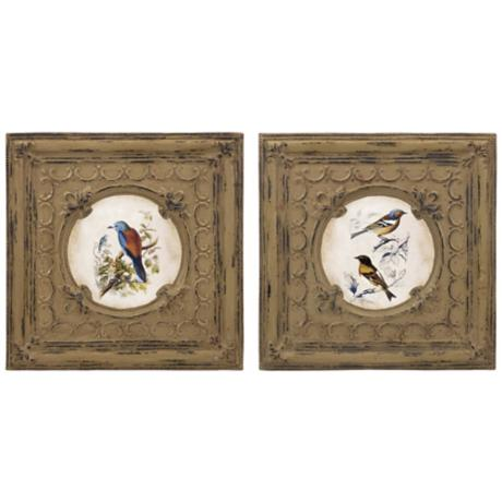 Callie Set of 2 Bird Wall Decor Prints on Trim