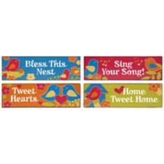 Set of 4 Tweet Tweet Tin Signs