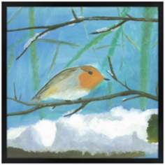 "Snow Sparrow 21"" Square Black Giclee Wall Art"
