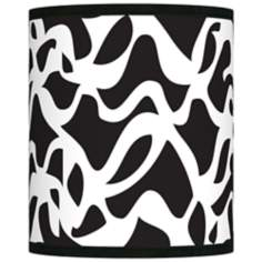 Retro Waves Black White Giclee Shade 10x10x12 (Spider)
