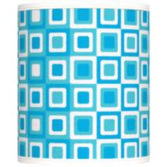 Blue Boxes Linen Giclee Shade 10x10x12 (Spider)