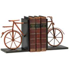 Set of 2 Muted Rust Finish Bicycle Bookends