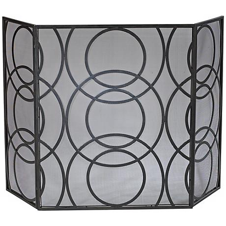 Orb Black Finish Iron Fire Screen
