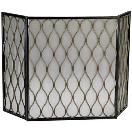 Gold Mesh Fire Screen
