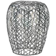 Open Grid Abstract Iron Contemporary Stool