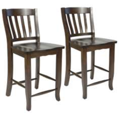 "Set of 2Charlotte Espresso 26"" High Counter Stool"