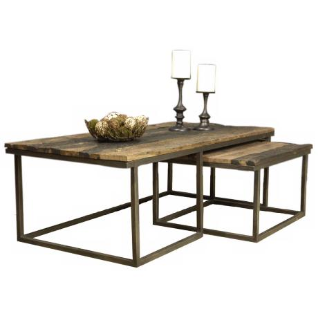 Vista Wood and Metal Nesting Coffee Table
