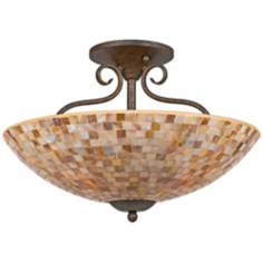 "Quoizel Monterey Mosaic 18"" Wide Semiflush Ceiling Light"