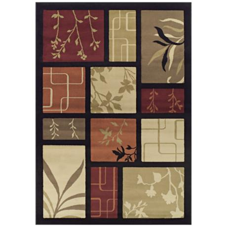 Tremont Collection Foliage Screens Black Area Rug